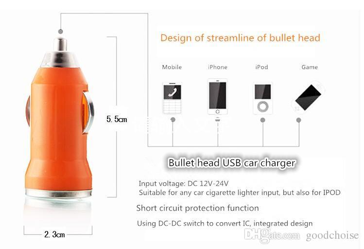USB 자동차 충전기 모든 휴대 전화에 대 한 다채로운 총알 미니 충전 휴대용 보충사 유니버설 어댑터