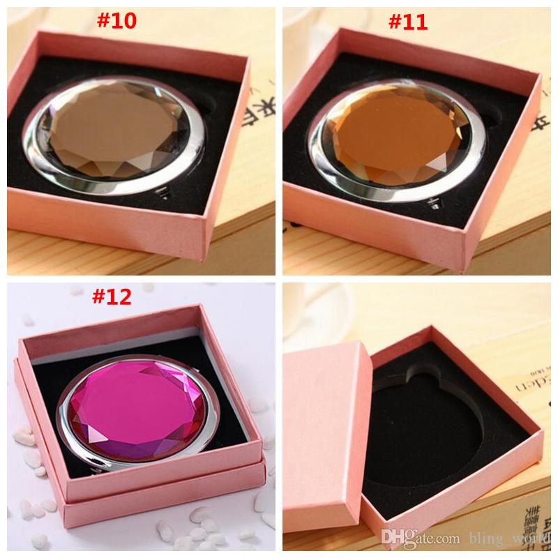 Folding Make up Mirror Cosmetic Mirror Compact With Mrystal Metal Pocket Mirrors Box Gift cosmetic Mirror Logo Print 7cm Customizable SF168