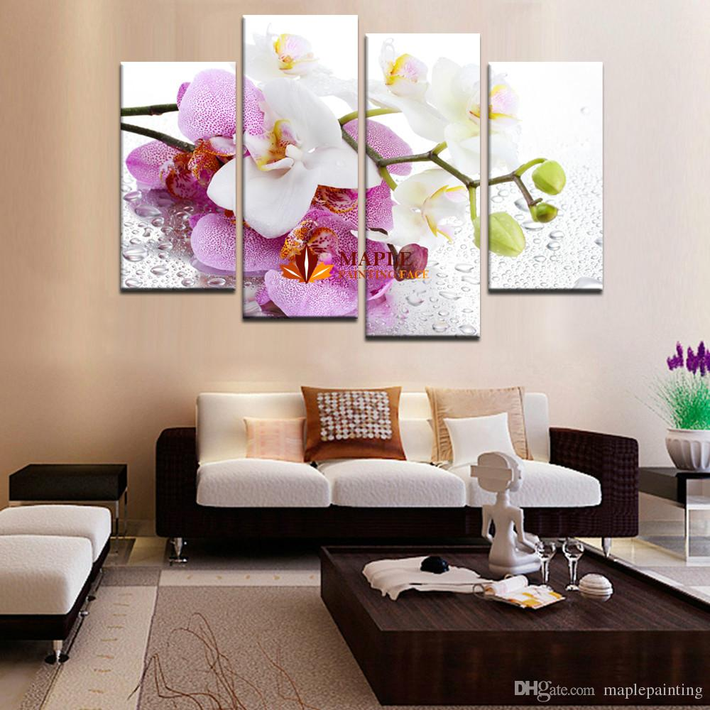 Hot Sell Pink Orchid Flowers Wall Art Picture Modern Home Decoration Living Room Canvas Print Painting Canvas Art Decorative Picture