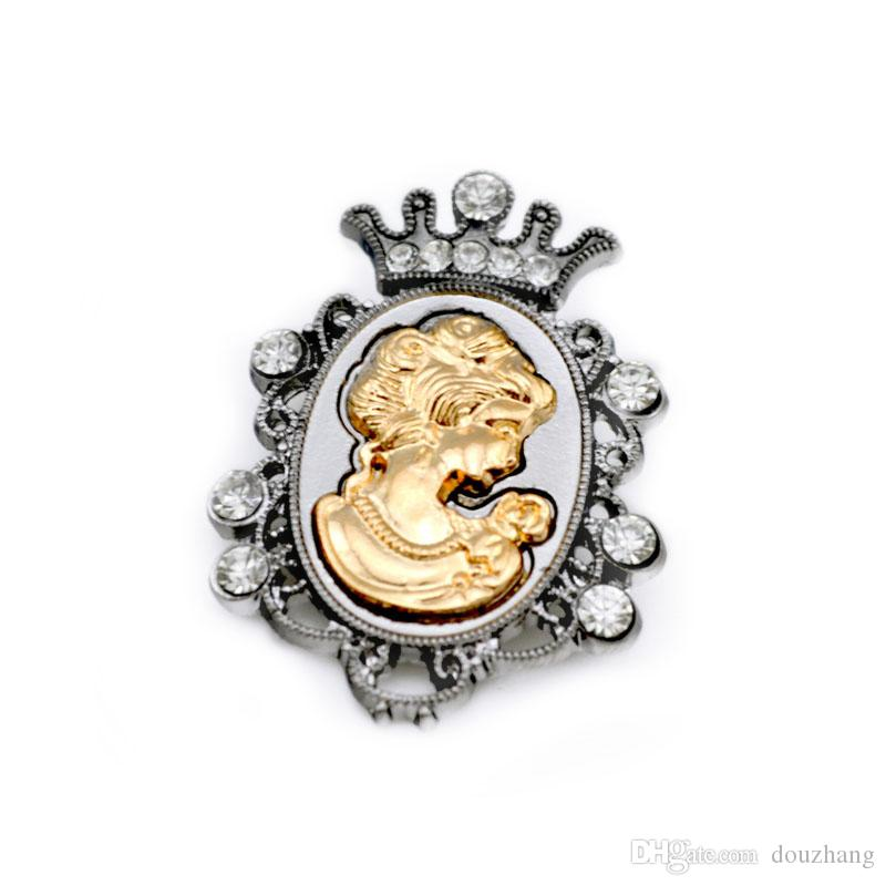Men Jewelr Vintage Victoria Brooch Pin Rhinestone Crown Queen Head Portrait Brooches Corsage for Women Jewelry