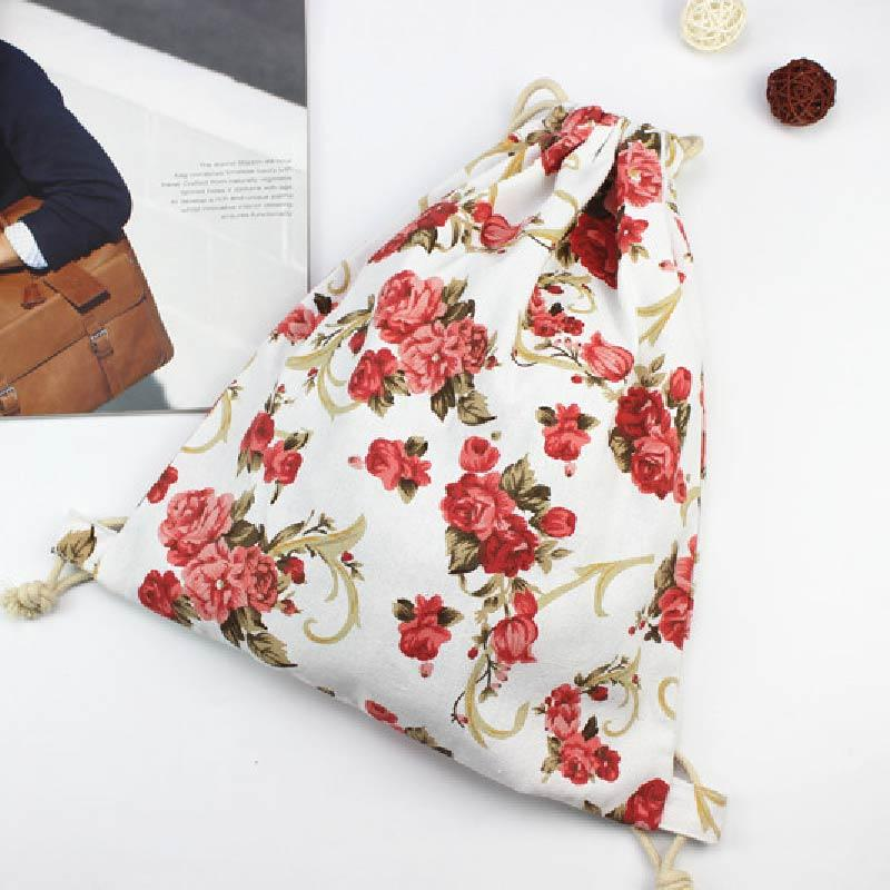 MATER Summer Canvas Backpack beach drawstring bag Fashion teenage girls Flowers Backpacks for Women adventure time MK061