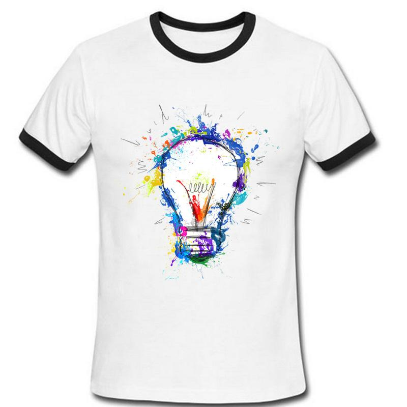 newest color paint light bulb t shirt summer clothing original funny t shirt men short sleeve hipster tees man tshirt homme t shirts for t shirt for from