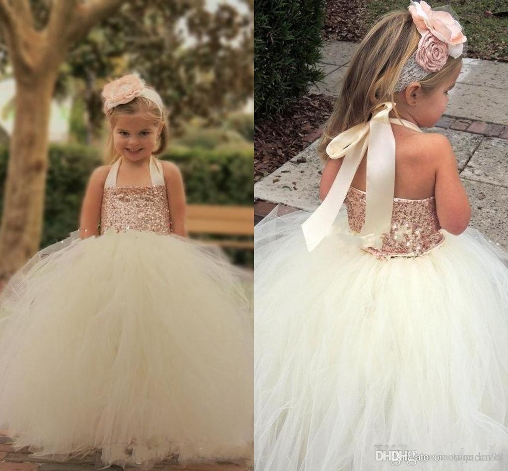 Cute Ivory Flower Girl Dresses 2019 Bling Rose Gold Sequin Halter Tutu Floor Length Ball Gown Cheap Custom Made Little Girls Pageant Dresses
