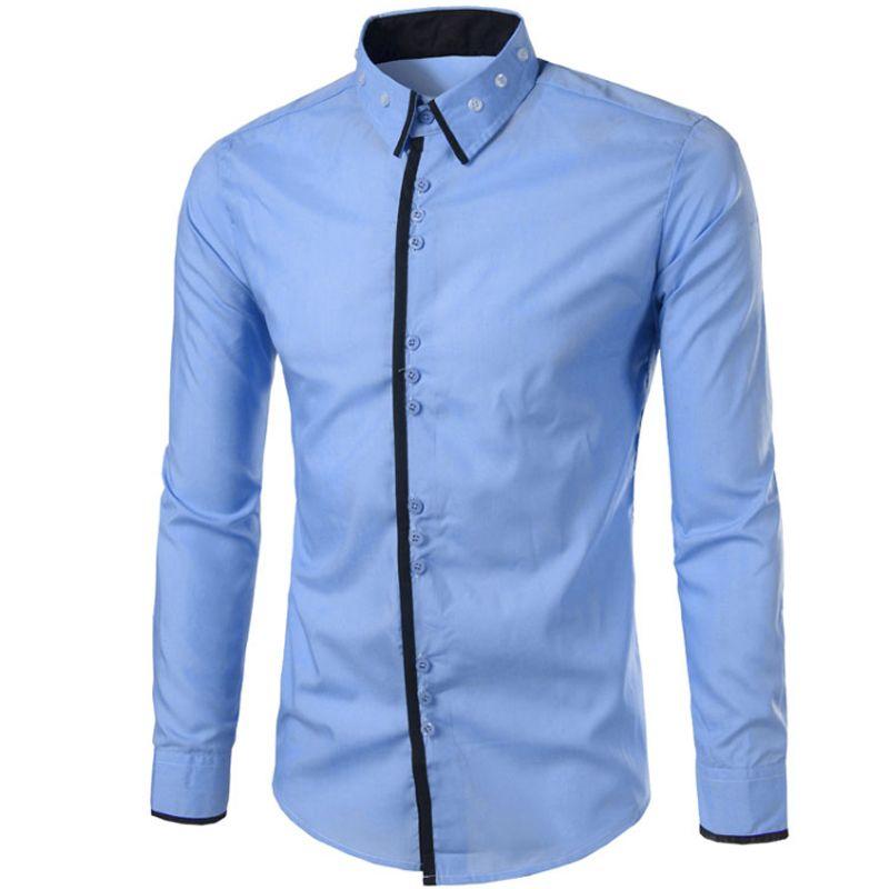 53fde3ae7c8 Wholesale- Brand 2017 Fashion Male Shirt Long-Sleeves Tops Three ...