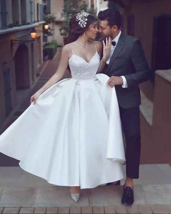 2017 Espaguete Lace Top Saia De Cetim Chá Comprimento Vestidos de Noiva Barato Árabe Festa de Casamento de Praia Vestidos de Noiva Plus Size Custom Made EN9302