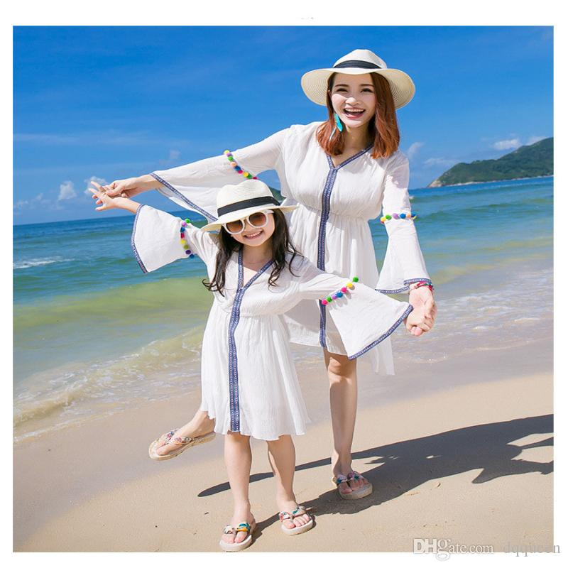 f566baece7ae Fashion Summer New Mother Daughter Dress Matching Outfits Kids Clothing One  Piece Beach Dress Bohemia Matching White Family Dress Alike Matching Outfits  For ...