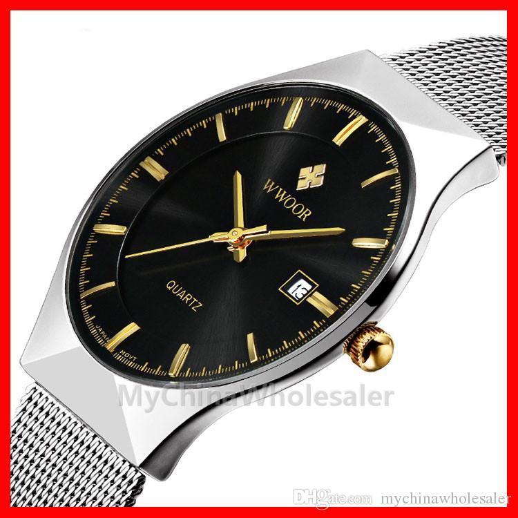 / 많은 WWOOR 시계의 새로운 최고 명품 시계 남성 브랜드 남자 시계 울트라 씬 스테인레스 스틸 메쉬 밴드 석영 손목 시계 패션 시계
