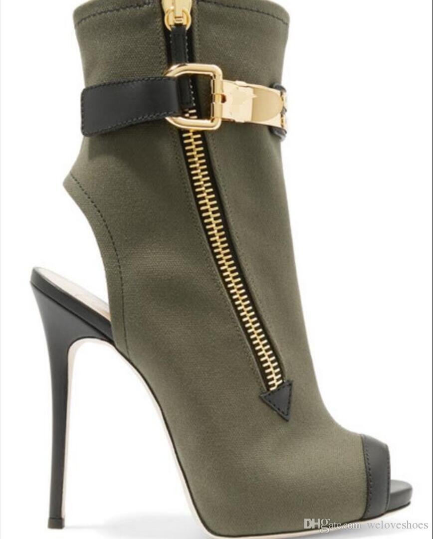 2017 été bottines armée vert cuir sandales bottes femmes peep toe bottines côté zip mujer botas dos ouvert chaussures de soirée talon mince