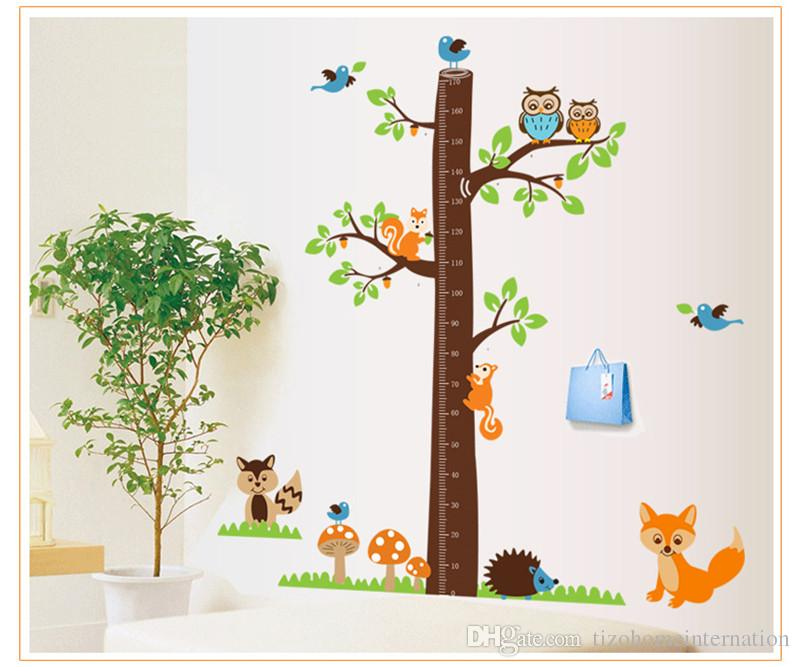 squirrels forest animals growth chart wall stickers for kids room decoration cartoon mural art home decals children gift height measure