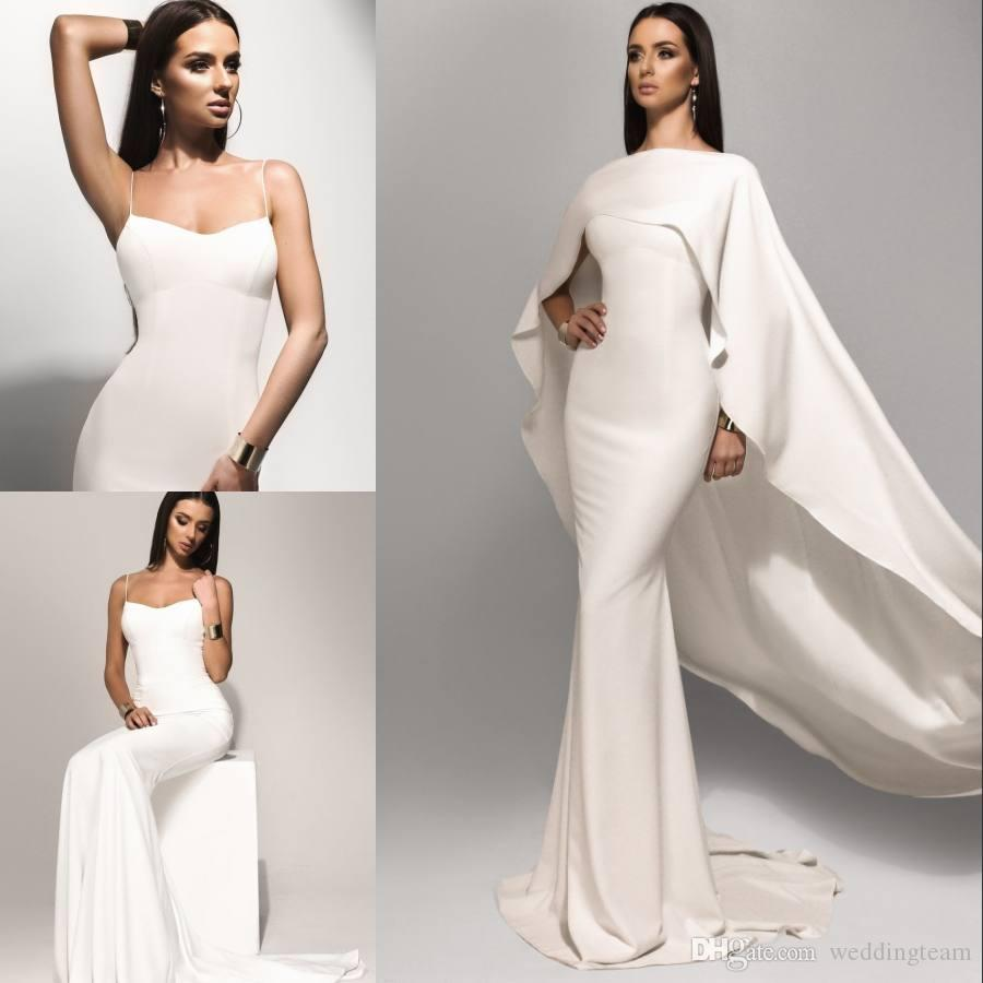 Cheap Arabic White Mermaid Prom Dresses With Cape Spaghetti Straps Evening Gowns Sweep Train Dubai Long Formal Party Dress