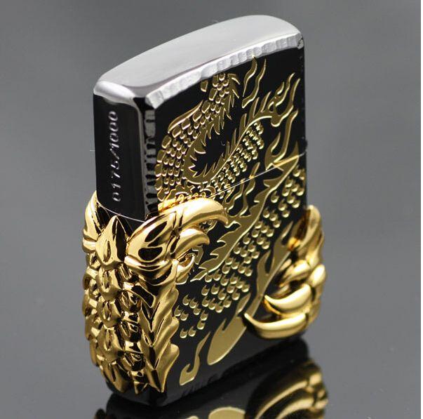 high quality men's cigarette lighter China golden dragon wind kerosene lighter + original packing box