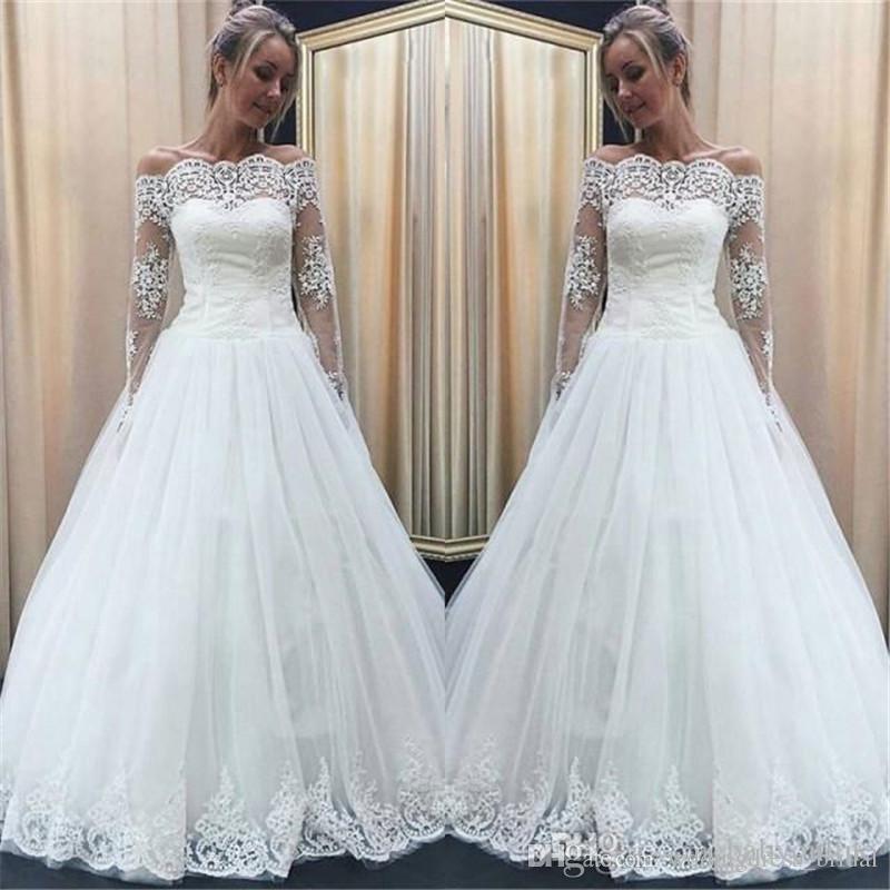 Vintage Vestidos De Noiva 2018 Illusion Long Sleeves Wedding Dresses Off the Shoulder Lace Appliques Cheap Ball Gown Bridal Gowns