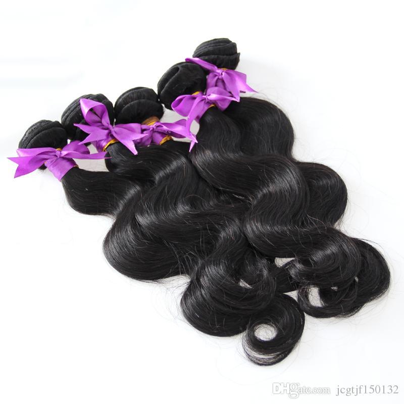 Бразильские пучки объемной волны натуральный черный 5шт человеческих волос продажа переплетения волос реми пучки двойной оттянутой, без пролить, расчесывания