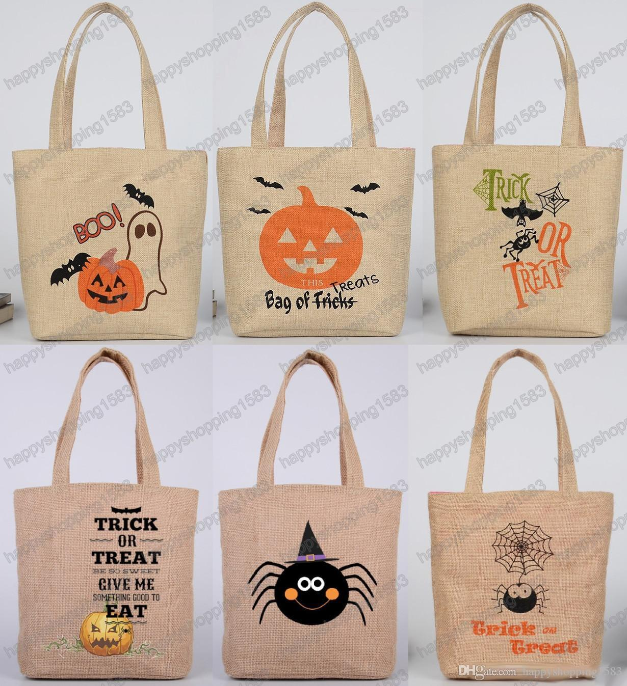 2017 cute halloween candy bags sweets handbag for children halloween supplies linen like gifts bags trick or treat pumpkin shopping bag from - 2017 Halloween Candy
