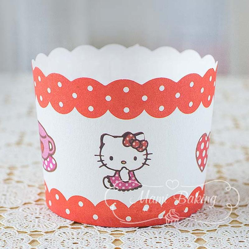 Cartoon Hello Kitty Cupcake Wrapper Cupcake Liners Muffin Paper Cases High Temperature Baking Cups Greaseproof Paper Cake Mold