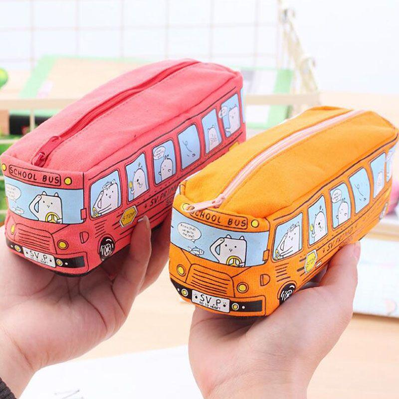 Children Pencil Case Cartoon Bus Car Stationery Bag Cute Animals Canvas Pencil Bags For Boys Girls School Supplies Toys Gifts