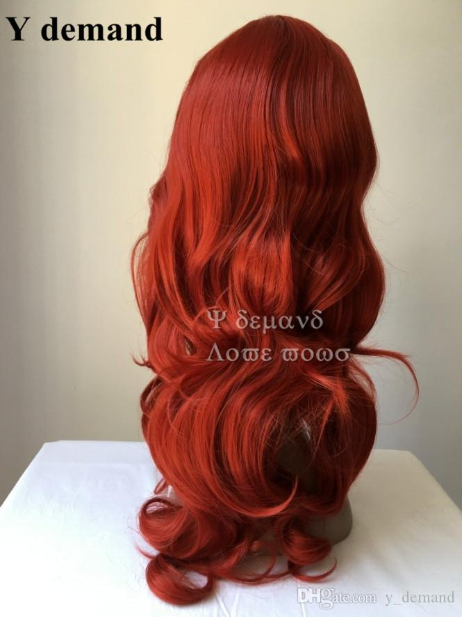 Cosplay wig Pelucas Lil Love Little Mermaid Princess Wigs long Wavy Red Wig Factory Direct Halloween Anime Wigs Popular In Stock