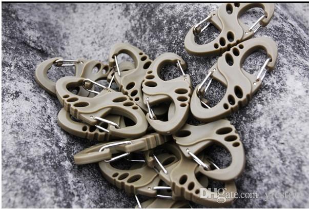 Clip S-Biner en plastique noir polyvalent pour bracelet mousqueton S porte-clés mini crochet S paquet en vrac