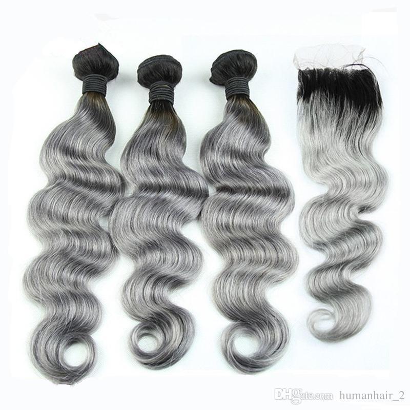 Tessuto grigio peruviano dei capelli del grado 8A con chiusura dell'onda del corpo Capelli biondo e grigio dei capelli umani di Ombre 1b di Ombre 1b di chiusura