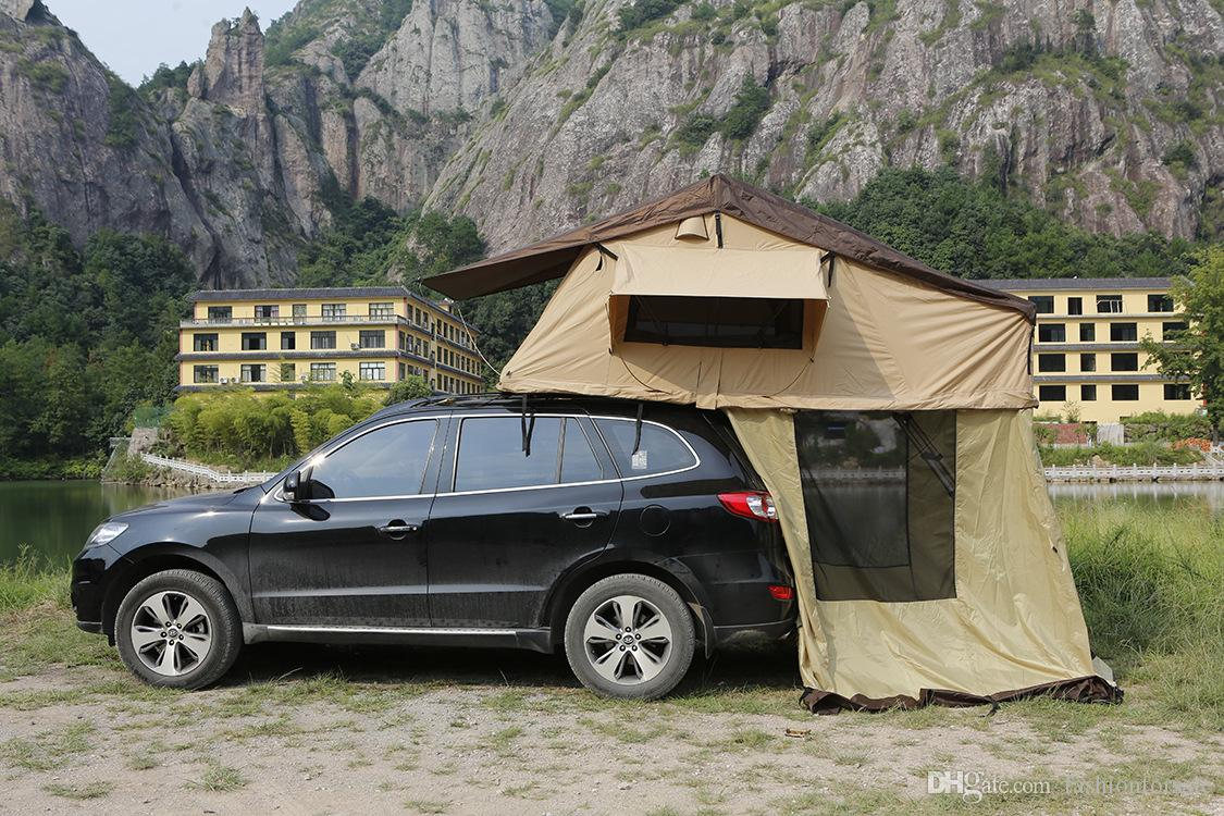 Outdoor Family Camping Tent On Car Two Person Traveling By Car The