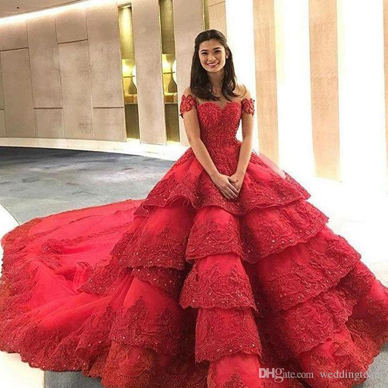Gorgeous Red Ball Gown Wedding Dresses Scoop Sheer Neck Short Sleeve ...
