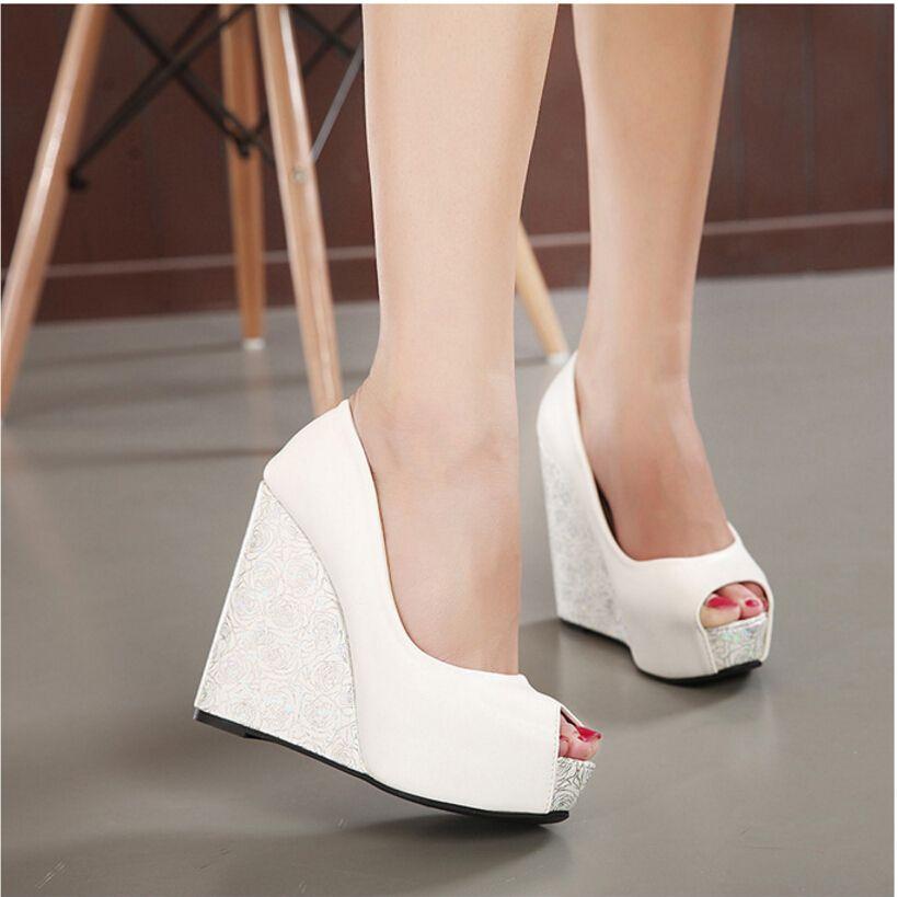 New 2017 Wedge Heel Bride Wedding Shoes Peep Toe High Heel