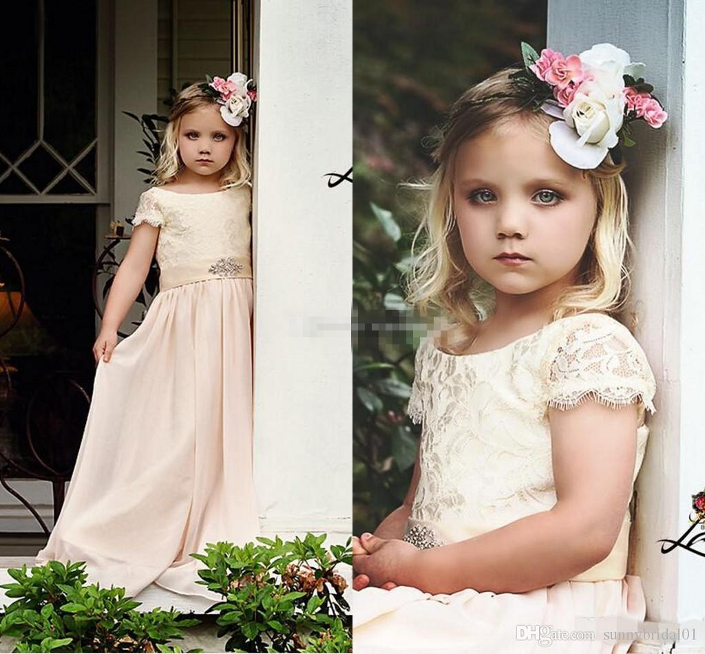 Cheap flower girl dresses for bohemia vintage wedding jewel neck cheap flower girl dresses for bohemia vintage wedding jewel neck with short sleeve beaded empire waist 2017 baby first holy communion dress flower girl izmirmasajfo