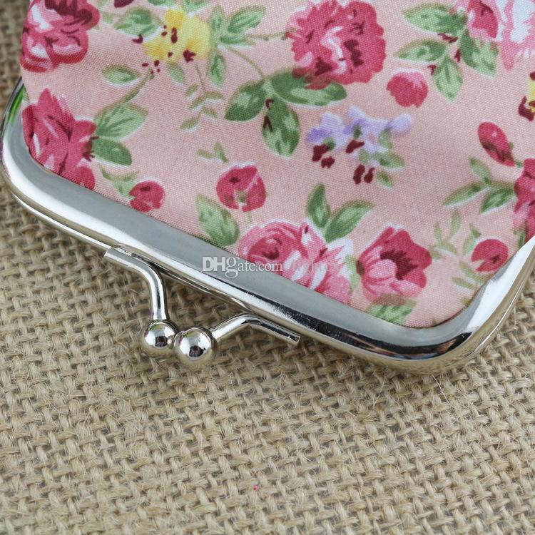 새로운 패션 여성 동전 지갑 귀여운 소녀 미니 가방 케이스 지갑 사랑스러운 아가씨 레트로 빈티지 꽃 파우치 변경 지갑