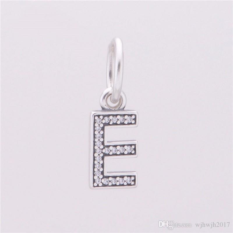 New Authentic 925 Sterling Silver Letter E Dangle Charms Pendant Beads With Clear Crystal For Women Fits Brand DIY Bracelets Jewelry Making