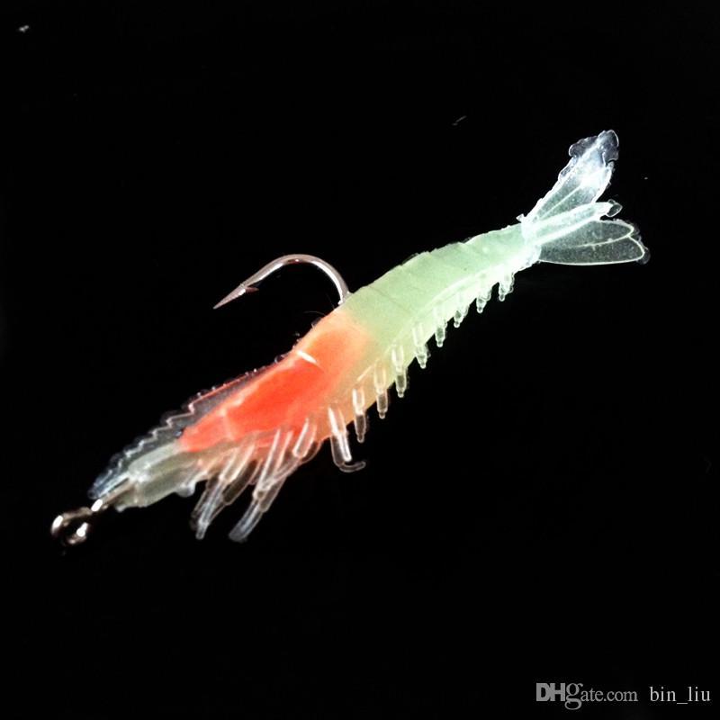 10 шт. / лот 4 цвета смешанные креветки ПВХ мягкие приманки приманки 6 см 3g Pesca одиночные рыболовные крючки BL_8