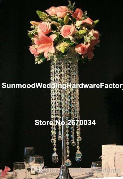 5 options can chooseCustom made hot new design crystal flower stand for wedding centerpieces