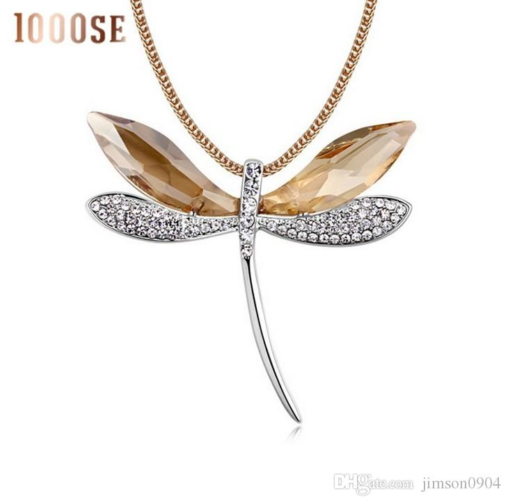 2017 new American Jewelry Pendant with lady SWAROVSKI Elements Crystal sweater chain Dragonfly Long Necklace sale