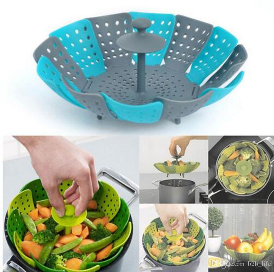 2018 Vegetable Fruit Food Plate Steamer Poacher Foldable Lotus ...