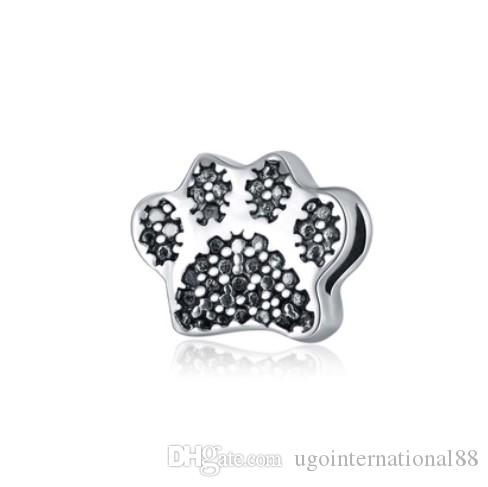 Wholesale 30pcs 925 Silver Plated European Charm Beads Bear Paw Print Charms Bead Fit Women Pandora Bracelet Bangle Diy Jewelry