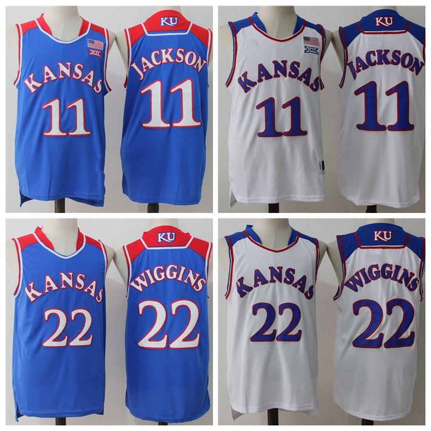 d17b4cabec53 2019 NCAA Kansas Jayhawks  11 Josh Jackson  22 Andrew Wiggins Jersey  Stitched Blue White College Basketball Jerseys Cheap Wholesale From Lizw33