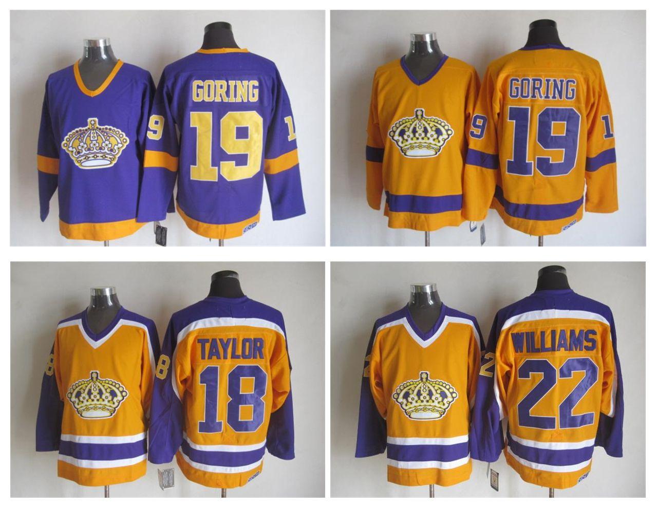 premium selection 813fb 5d07b Retro Los Angeles Kings Hockey Jersey 18 Dave Taylor 22 Tiger Williams 19  Butch Goring LA Vintage CCM Authentic Stitched Jerseys