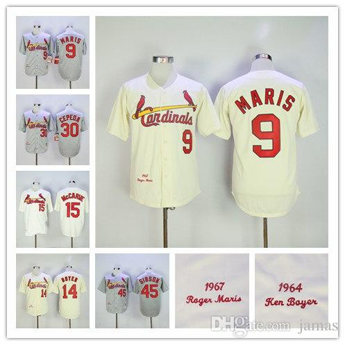 ccccdb4c ... Throwback Majestic Cooperstown Collection Custom Baseball Jersey 2017  Mlb MenS St. Louis Cardinals 45 Gibson 14 Boyer 30 Orlando Cepeda 9 Roger  ...