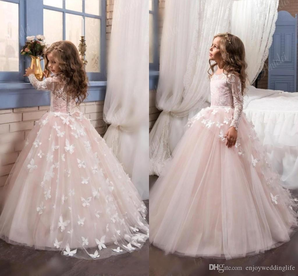 Sheer Long Sleeve Princess Flower Girls Dresses Crew Neck Tulle Ball ...