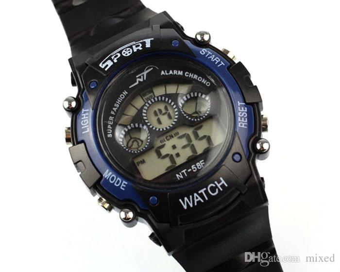 NT-56F Спортивные Часы Лучшие Продажи Отличный Спорт Светодиодная Мода Водонепроницаемый Мальчик в Девочке Электронные Наручные Детские Часы Подарок