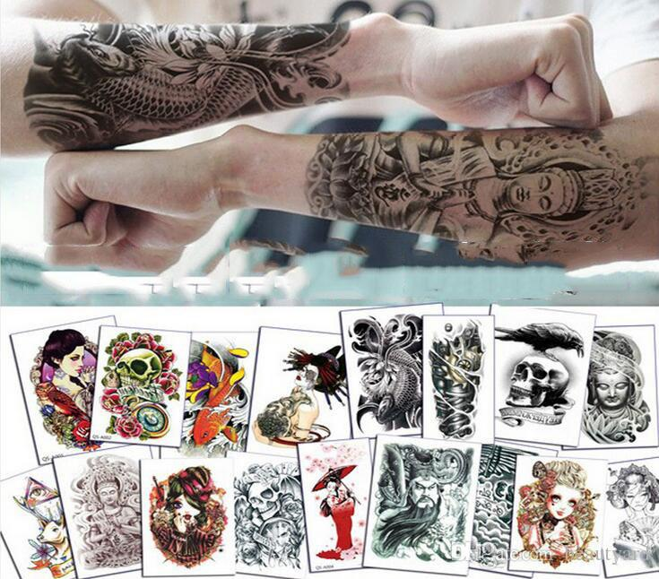 Flower arm tattoo stickers waterproof skull carp carpon public beauty arm arm to map custom tattoo stickers metallic tattoos permanent professional