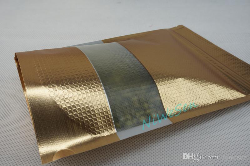 10x15cm 엠보싱 가방, / X 창 - resealable 건조 바나나 스토리지 지퍼 주머니와 매트 골드 알루미늄 호일 지퍼 백을 세워