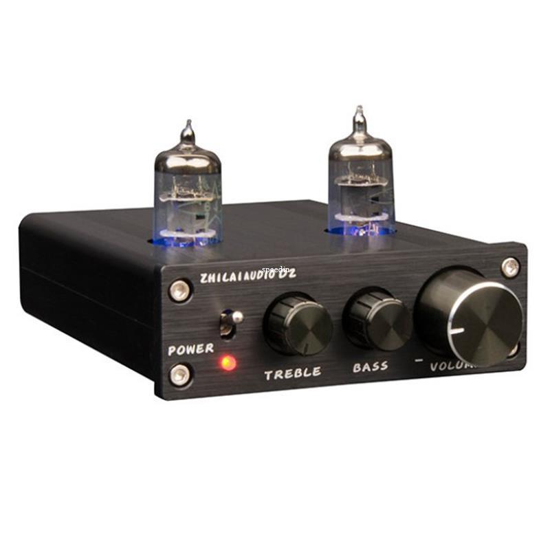 Freeshipping Tube Preamplifier HiFi Digital Audio Preamp 6J1 Valve Dual  Channel Treble Bass ZHILAI D2 Amplificador with Power Adapter Black