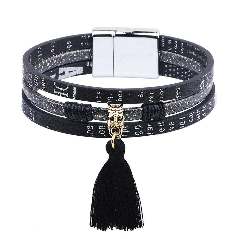 Female Male Alphabet Print Multil-row PU Leather Bracelet Cuff Magnetic Tassel Bracelet Women Wrap Charm Boho Bohemian Bracelets Bangle Men