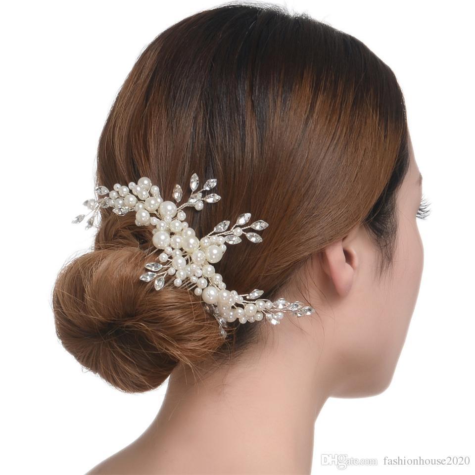 2017 faux pearls bridal hair comb cheap wedding hair pieces