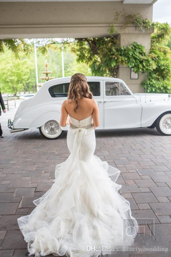 2017 Arabic Style Sweetheart Mermaid Wedding Dresses Backless Lace Bodice Vintage Vestios De Novia Bridal Gowns with Tiered Ruffles Skirts