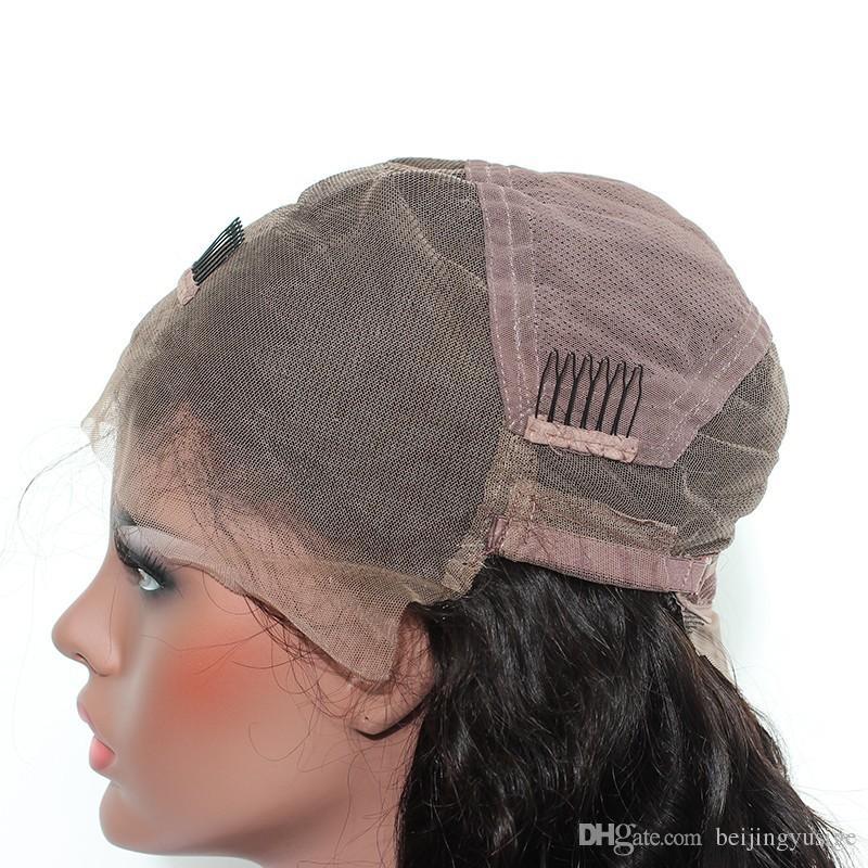Parrucca piena del merletto dei capelli umani diritta piena del merletto della parrucca piena del merletto dei capelli indiani di vendita calda 100% con le frange le donne nere