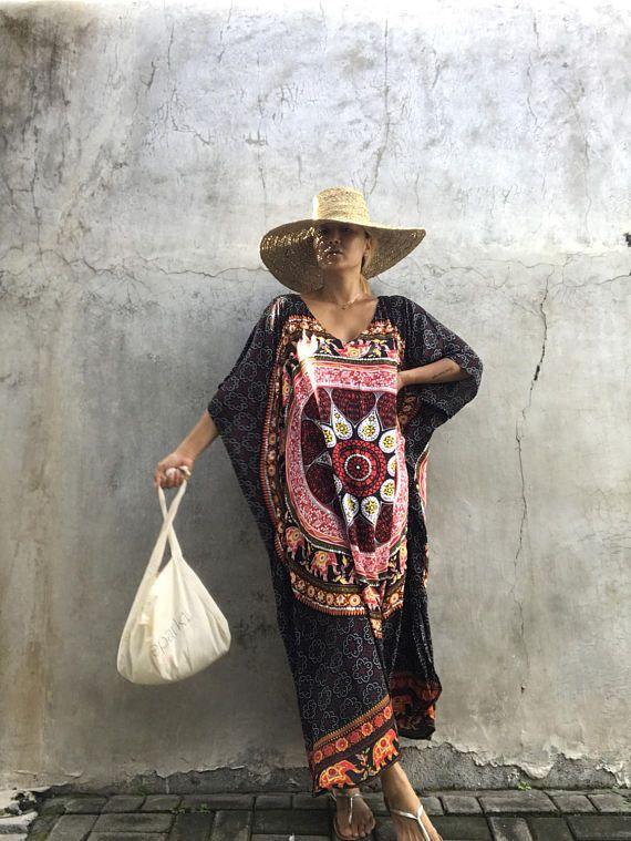 Nuovo stile della Boemia Vestito da donna scollo a V Tops larghi Abito lungo da donna Maniche a pipistrello manica a palloncino Floreale Abiti a tunica C3040