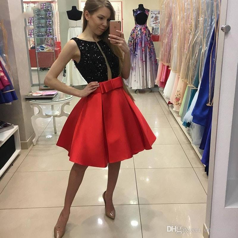 cba1c20d6 2017 Black Sequin Red Satin Short Cocktail Party Dresses 2017 Bow Sash Knee  Length Homecoming Prom Evening Gowns Cheap Cocktail Dresses Uk Chic Cocktail  ...
