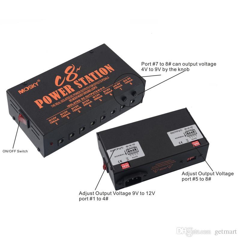 MOSKY C8 guitar effect pedal power supply Isolated 8 Outputs 4-9V 12V 18V Power For 8 Pedal-Internal toroidaltransformer