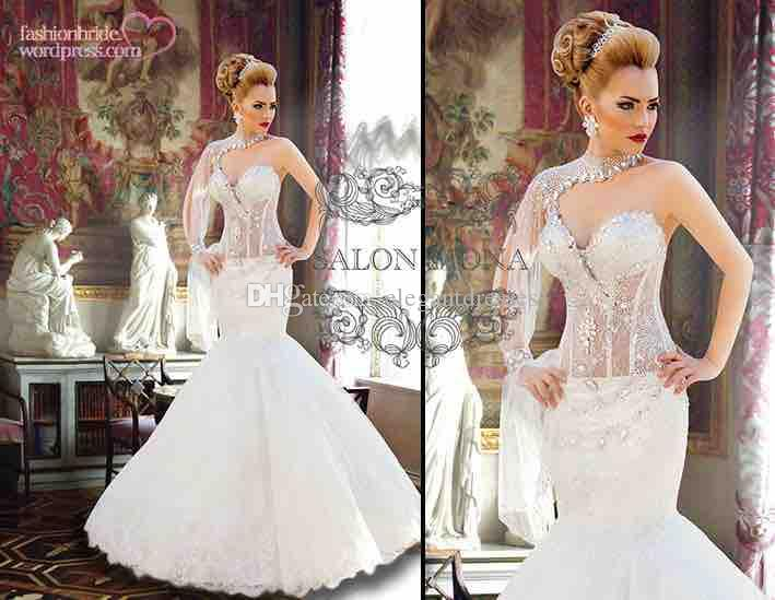 Long Sleeve New Bridal Gown Crystal See Through Salon Wedding Dresses 2017 Ruffles Cheap Bridal Gowns Custom Made